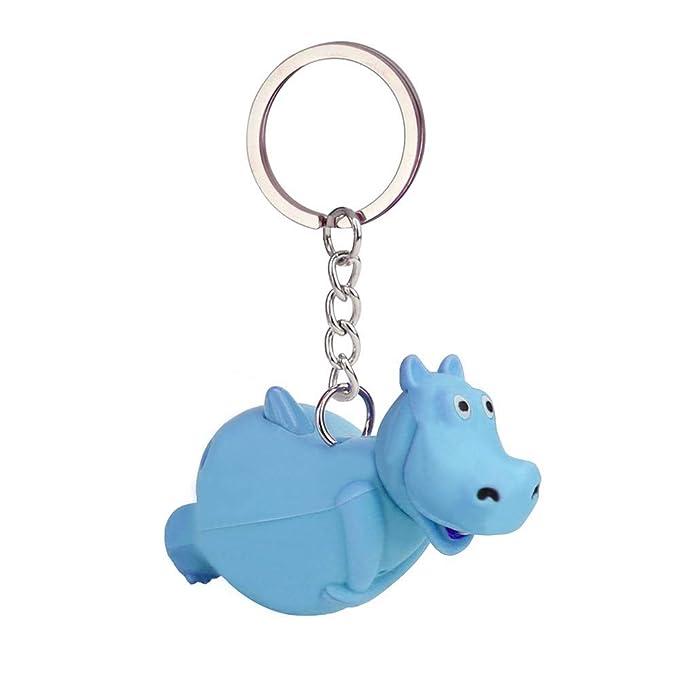Aiserkly - Llavero con diseño de hipopótamo con luz LED y ...