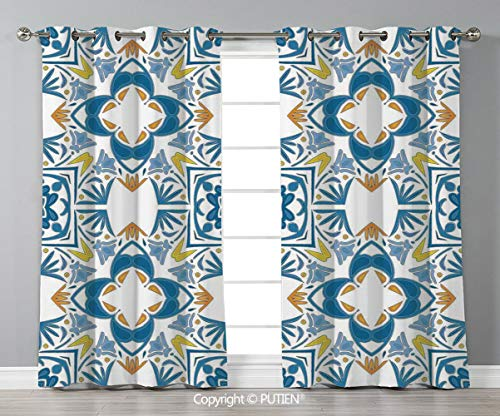 Grommet Blackout Window Curtains Drapes [ Traditional House Decor,Tunisian Mosaic with Azulojo Spanish Influence Authentic Arabesque Inspired Artwork,Blue ] for Living Room Bedroom Dorm Room Classroom