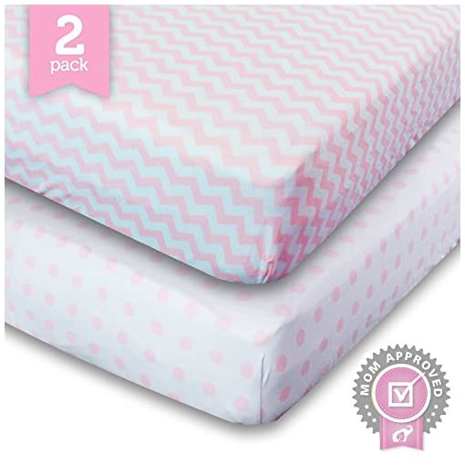Ziggy-Baby-Crib-Sheet-Toddler-Bedding-Fitted-Jersey-Cotton-2-Pack-Chevron-Dot-PinkWhite