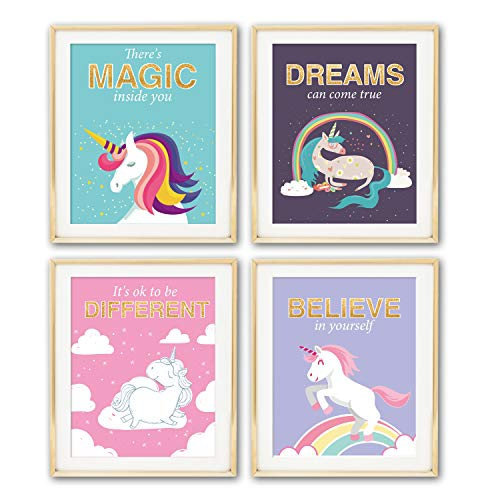 Unicorn Inspirational Motivational Quotes Wall Art Prints | Posters for Girls Bedroom Decor | Art Prints Teen Room Decorations | 8x10 Unframed