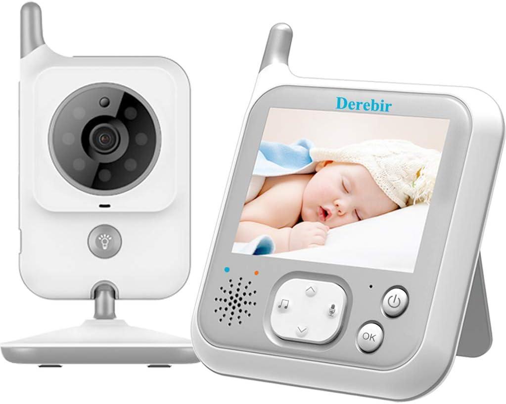 Vigilabebés Inalambrico Bebé Monitor Inteligente con Cámara Audio Pantalla LCD de 3.2 Monitoreo deTemperatura VOX Auto Wake-up luz nocturn Visión Nocturna Intercomunicador Canción de Cuna