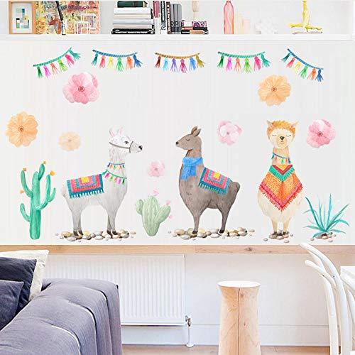 SerLaks % Cartoon Three Sheep Flowers Wall Sticker Handpaint Style Animals Kids Room Decals Home Decorative Mural PVC Art DIY Wallpaper