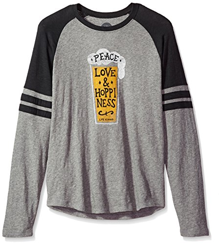 Life is Good Men's Vintage Sport Peace Love Hoppy Hthgry T-Shirt, Heather Gray, X-Large