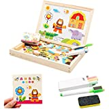 Forest Drawing Writing Board Magnetic Puzzle Double Easel Kid Wooden Toy Sketchpad Gift