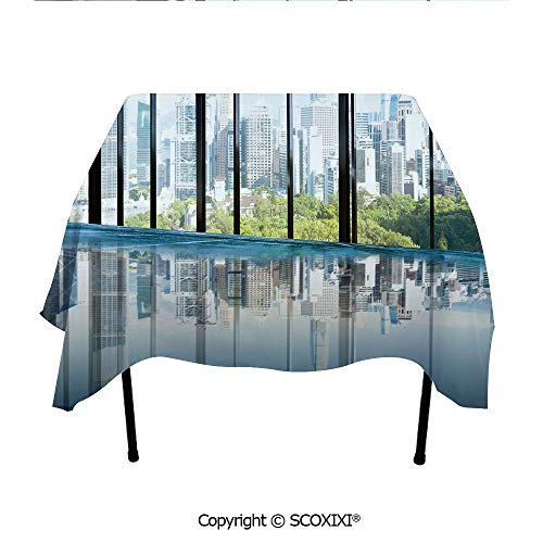 SCOXIXI Designs Tablecloth Washable Polyester Fabric,Metropolitan Cityscape of New York USA in Central Park Forest Photo,W55XL55 Inches