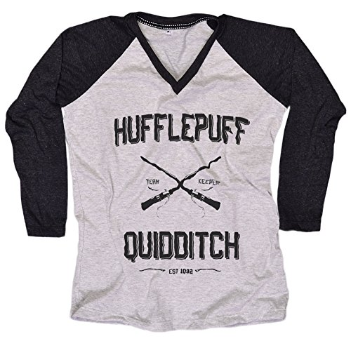 [Harry Potter Women T-Shirt Hufflepuff Quidditch shirt Everytees Long Sleeve Baseball Raglan Gift for Women] (Dobby Harry Potter Costumes)