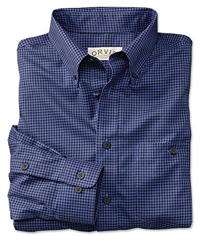 ure Cotton Buffalo-check Shirt, Blue, XL (Wrinkle Free Pure Cotton Shirt)
