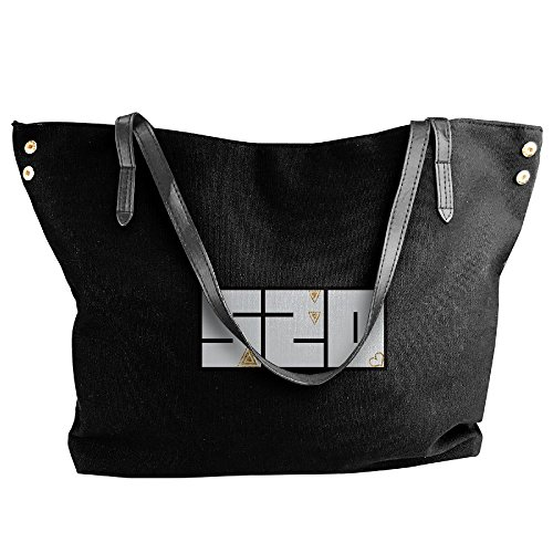 Bags Capacity Hobo Women Black Fashion Love Shoulder Handbags Tote Canvas Bags Black Handbags Large PgqST