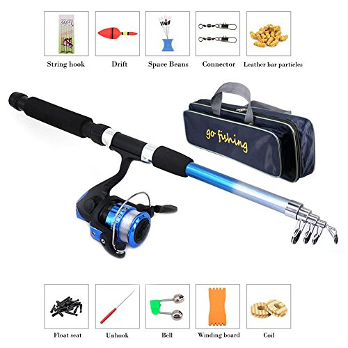 Fishing Rod Reel Combo Set, Fishing Rod Reel Set Kit with Line Travel Telescopic Beginner Children Lightweight and…