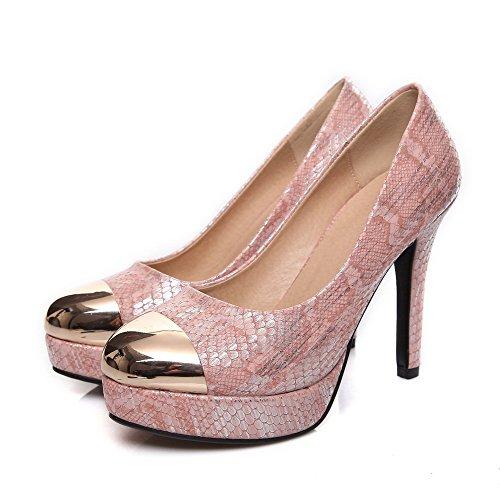 AgooLar Damen Ziehen auf Rund Zehe Stiletto Gemischte Farbe Pumps Schuhe Pink