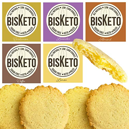BisKeto Cookies - Low Carb, Keto, Paleo, Sugar Free & Gluten Free Snacks - Box with 12 Cookies (Variety Pack)