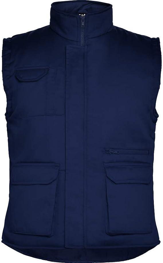 100/% Algod/ón Color Azul Marino Talla L Ref 4814 Chaleco De Trabajo De Invierno Sagra Multibolsillo de Hombre Profesional