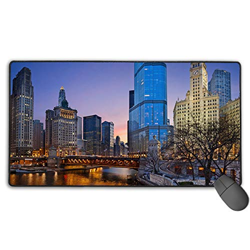 Hidden Ambition Chicago City Mouse Pad with Stitched Edge, Premium-Textured Mouse Mat, Non-Slip Rubber Base Mousepad for Laptop, Computer & -