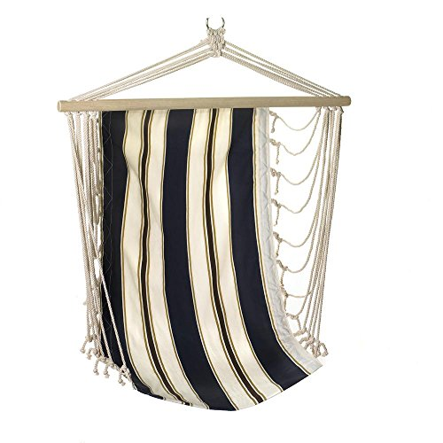 Koehler Home Decor Indoor Outdoor Garden Hanging Rope Swinging Navy Striped Hanging Chair