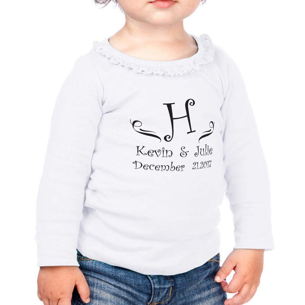 Personalized Custom Black Letter Cotton Toddler Long Sleeve Ruffle Shirt Top