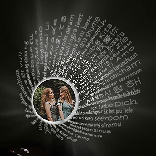 YDD S925 Personalisierte 100 Sprachen Projektion Foto Halskette für Frauen, Sterling Silber Infinity Anhänger mit benutzerdefinierten Bild Halskette für Mädchen Geburtstagsgeschenk 18''+1''+1''