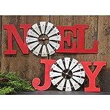 """Col House Designs """"Joy or Noel Red Windmill Metal"""