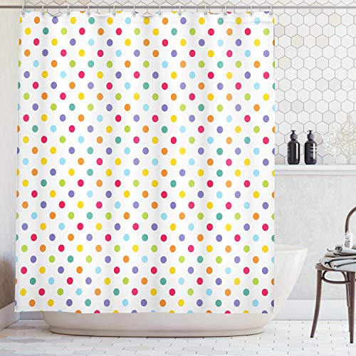 Ambesonne Abstract Shower Curtain, Colorful Polka Dots Round Circular Vintage Fashion Girls Feminine Baby Design, Fabric Bathroom Decor Set with Hooks, 75 Inches Long, Whiite Purple