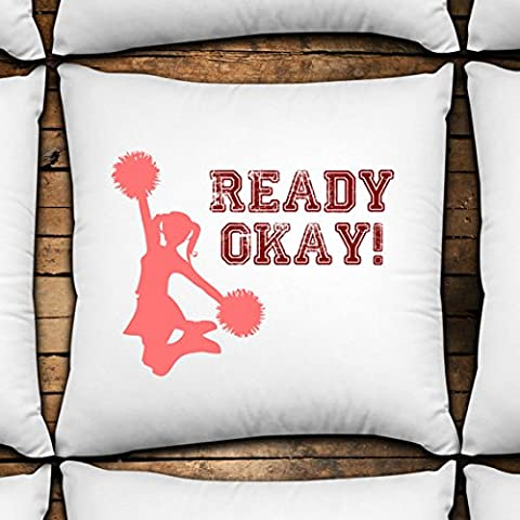 Ready Okay! 14x14 Decorative Throw Pillow Cover custom made,unique design,fun decor,cheerleaders,cheerleading,cheer,ready - Green Bay Packers Jersey Comforter