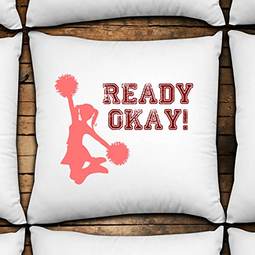 Ready Okay! 14x14 Decorative Throw Pillow Cover custom made,unique design,fun decor,cheerleaders,cheerleading,cheer,ready okay