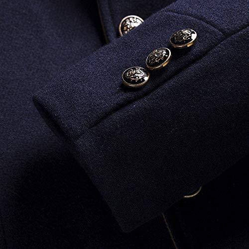 Daoroka Mens Wool Stand Collar Business Jacket Coat Autumn Winter Thick Warm Pocket Solid Button Outwear Fashion Casual Long Sleeve Overcoat by Daoroka Men Coat&Jacket (Image #2)