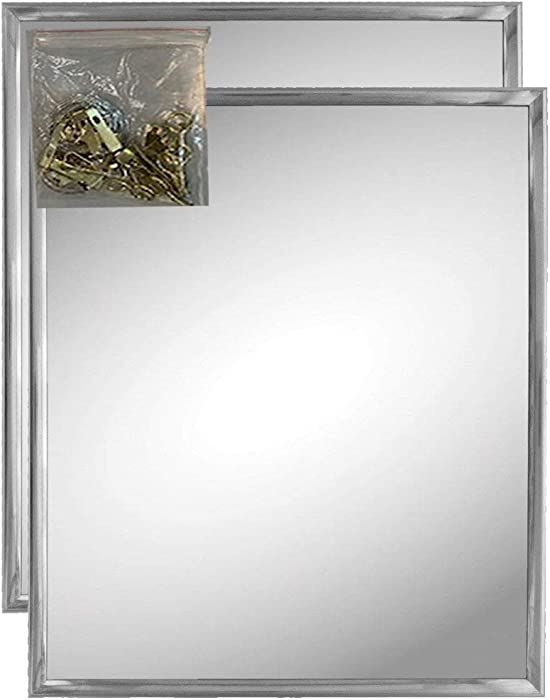 "Andalus Wall Mirror with Silver Frame (2 Pack), 10"" x 12"" Inches, Includes Picture Hanging Kit"