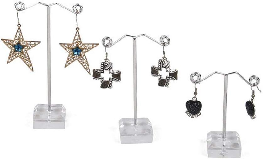 Regalos de cumpleaños Mujeres Niñas Pendientes creativos de Metal Mini Pendientes de Tres Piezas de acrílico Pendientes Accesorios de exhibición (Color: Negro, Tamaño: 3x3x13 / 11 / 9c
