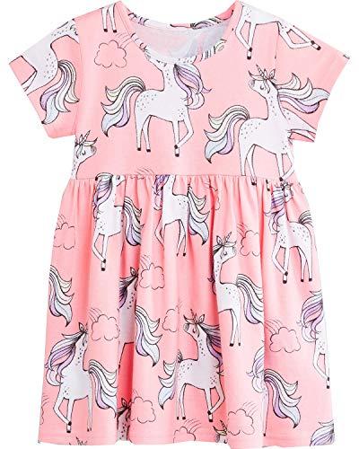 Bumeex Little Girls Cotton Casual Cartoon Print Short Sleeve Skirt Dresses (7T(6-7years), Pink Unicorn) -