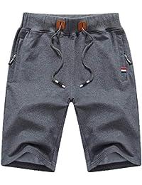 Mens Shorts Casual Drawstring Zipper Pockets Elastic Waist