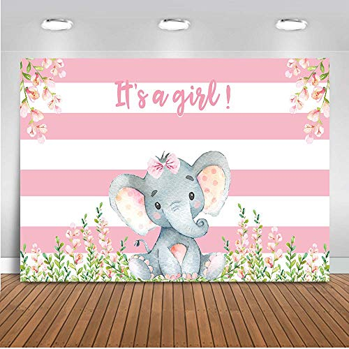 Mehofoto Girl Elephant Baby Shower Backdrop Pink Flower Elephant Photography Background 7x5ft Vinyl Elephant Baby Shower Party Banner Backdrops]()