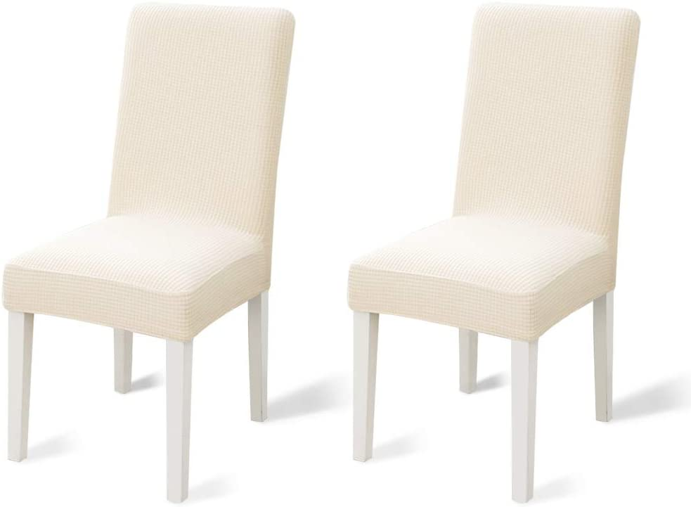 TOPUONE 2Pack Dining Chair Covers, Stretch Parsons Chair Slipcover Chair Furniture Protector Covers Removable Washable Chair Cover for Dining Room, Hotel, Ceremony (Beige)