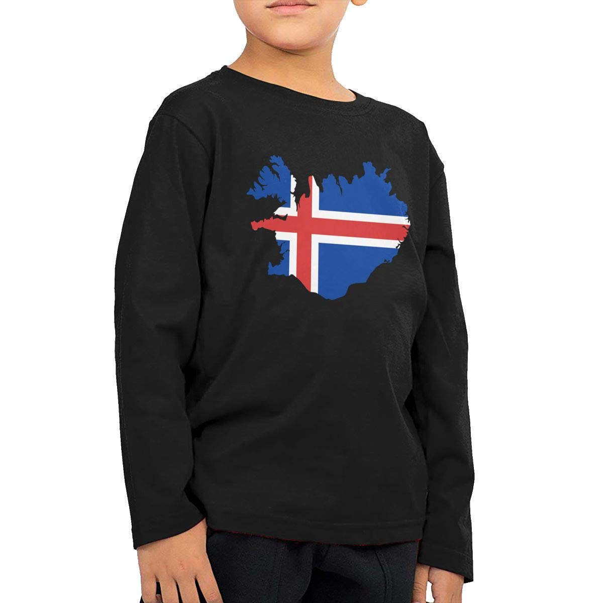 WZMD Flag of Iceland Map Childrens Long Sleeve T-Shirt for Boys Girls