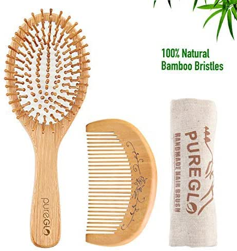 Natural Wooden Hair Brush – pureGLO Bamboo Bristle Detangling Hairbrush for Women Men and Kids - Reduce Frizz, Massage Scalp for Straight Curly Wavy Dry Wet Thick or Fine Hair (Brush set 2)