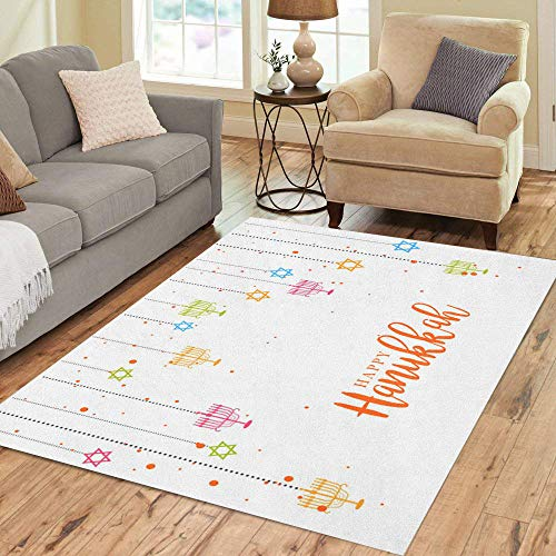 Pinbeam Area Rug Colorful Children Happy Hanukkah Jewish Holiday Hanuka Burning Home Decor Floor Rug 5' x 7' Carpet - Jewish Celebrations Rug
