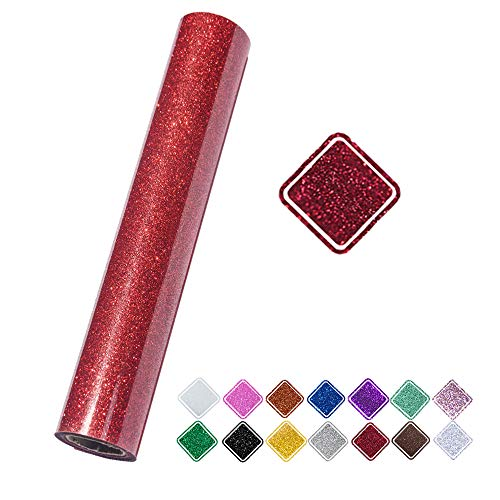 VINYL FROG Red Glitter Heat Transfer Vinyl Roll 9.8x60 Heat Press for T-Shirt Clothing Garment Bags