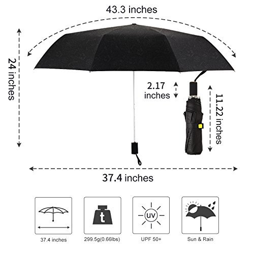 Kobold Tavel Umbrella Compact Mini Lightweight Travel Umbrellas for Women Double Layers Canopy for Rain Sun Protection Comfortable Handle Leopard Print by Kobold (Image #2)