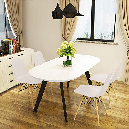 Wood Legs Dining Room Chair, Mid Century Style Chair Plastic Seat Set of 4 // Littay