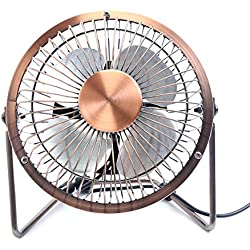 Glamouric Adjustable USB Desk Fan - Metal Archaistic Fan - Mute Personal Mini Fan - Small Table Fan with Switch on/off, Great for Desktop Tabletop Office & Travel, Retro Designed Copper Color