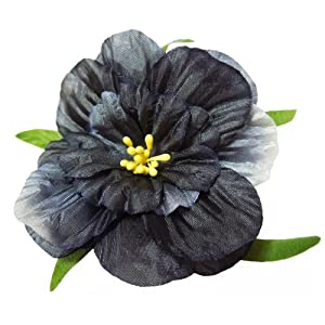 Cuteque International 6-Pack Black Soft Silk Cosmo Flower with Yellow Peep Center, 3-Inch 105