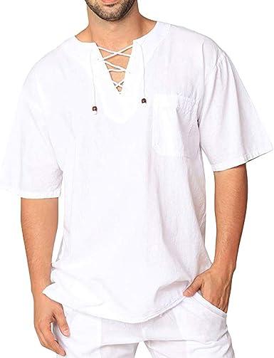 FossenHom Camisas de Hombre de Moda 2020 Camisetas Vintage Tops Blusa Holgada, Camisas Hombre Fiesta de Manga Larga: Amazon.es: Ropa y accesorios