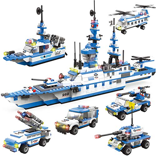 WishaLife 1230 Pieces City Police Station Building Kit, 6 in 1 Missile Patrol Boat Building Toy, Police Car Toy, City Sets with Cop Car, Ship & Airplane with Storage Box -