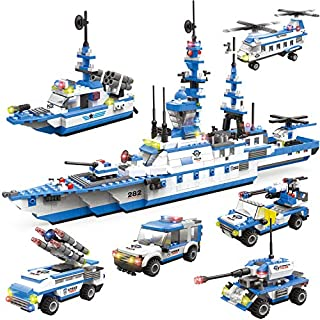 WishaLife 1169 Pieces City Police Station Building Kit, 6 in 1 Missile Patrol Boat Building Toy, Police Car Toy, City Sets with Cop Car, Ship & Airplane with Storage Box for Boys and Girls 6-12