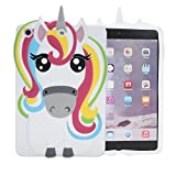IPad Mini WHITE Case,Bukit Cell-Color 3D Cute Silicone Lovely Fun Animal Cartoon Gel Rubber Back Cover Case for iPad Mini 1 2 3 (Rainbow Horse) +Bukit Cell Mettalic stylus pen