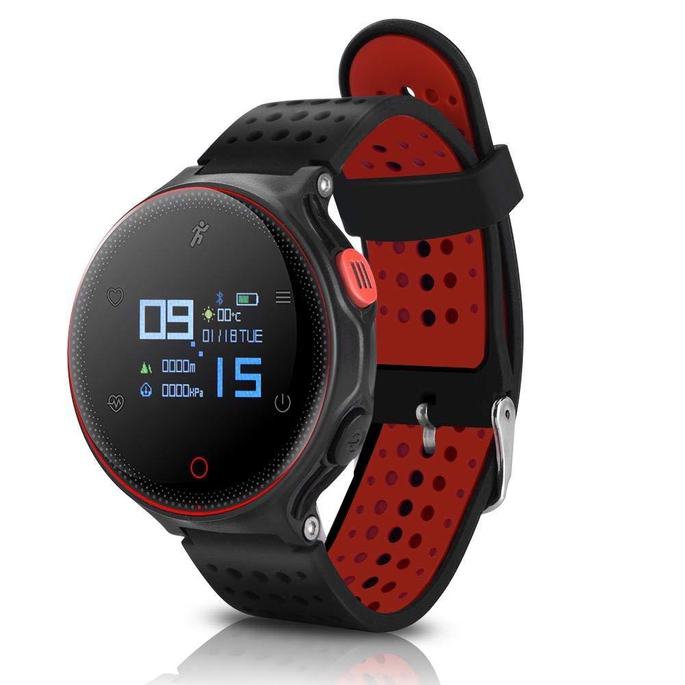 Sports Waterproof Bracelet Smart Watch, 3 Colors Microwear X2 Wireless Sports Waterproof Watch Heart Rate Monitor Fitness Tracker(Black Red)