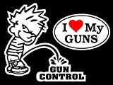 Chiam-Mart 1 Set Brilliant Unique Boy Peeing Piss Gun Control I Love My Guns Window Sticker Sign 24Hr Protected Firearm Security Windows Stickers Decor Patches w/2 Style
