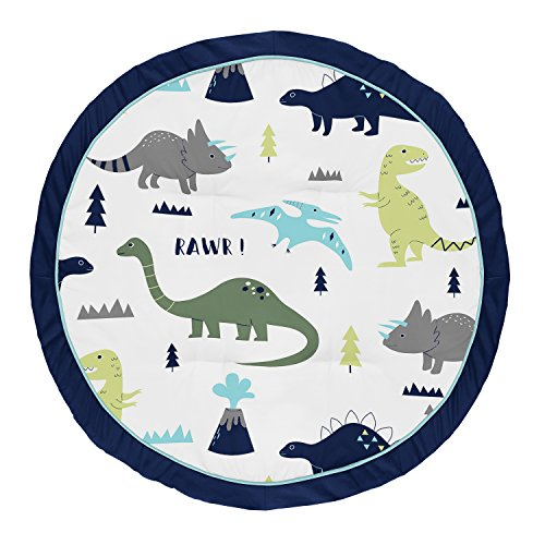 Sweet Jojo Designs Green - Sweet Jojo Designs Blue and Green Dino Playmat Tummy Time Baby and Infant Play Mat for Mod Dinosaur Collection