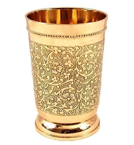 Set Of 6 Embossed Designer Brass Mint Julep Cup Goblet Tumbler Capacity 12 Ounce Each by PARIJAT HANDICRAFT (Image #3)