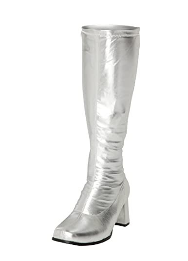 Silver Knee High Boots - 60s 70s Fashion Boots - Silver GoGo Boots ...