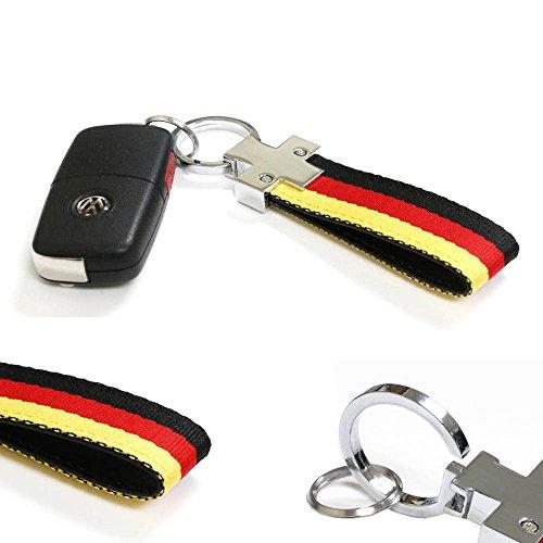 iJDMTOY (1) Euro Germany Flag Stripe Nylon Band with Inner Leather Key Fob Chain Keychain Ring For Audi BMW Mercedes Porsche Volkswagen, (Flag Car Keychain)