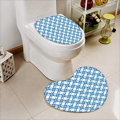 (Soft Toilet Mat 2 Pieces Set Braided Mesh Style Pattern Saphhire Gem Effect Digital Print Light Blue Machine-Washable)